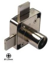 Rim lock for double doors, nikel plate