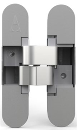 3D concealed hinge for unrebuted 38 mm thick residential door with 12 mm recessed frame facing up to 40 Kg