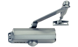 Overhead door closer, DCL 12, EN 3, with arm, Startec, with hold-open arm, silver coloured